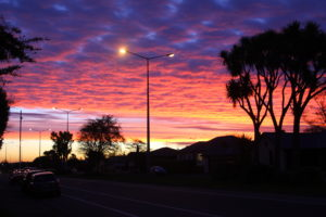 Auringonlaskun värejä Invercargillissa